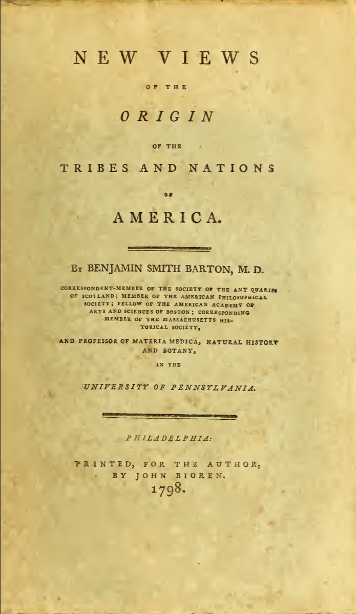 1798 New views of the origin of the tribes and nations of America