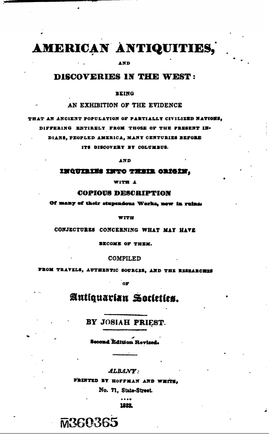 1833 American Antiquities and Discoveries in the West