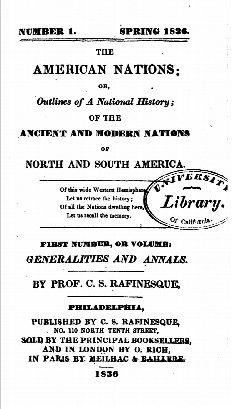1836 The American Nations, Or, Outlines of a National History Vol 1