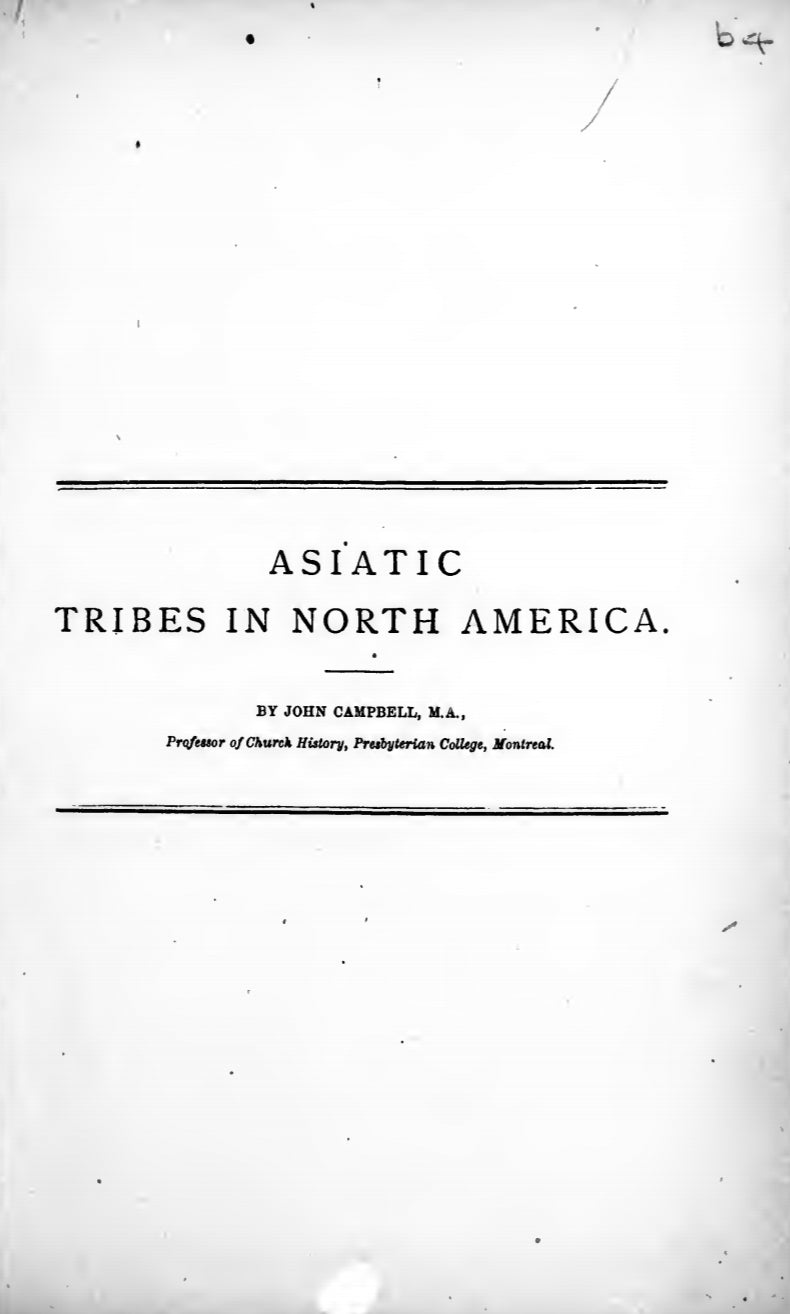 1884 Asiatic tribes in North America