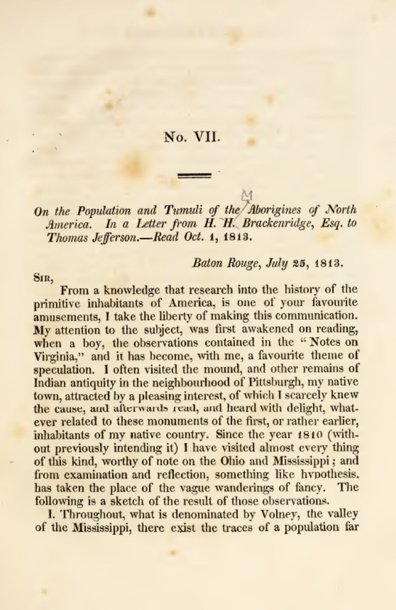 1818 On the population and tumuli (mounds) of the Aborigines of North America in a letter to Thomas Jefferson