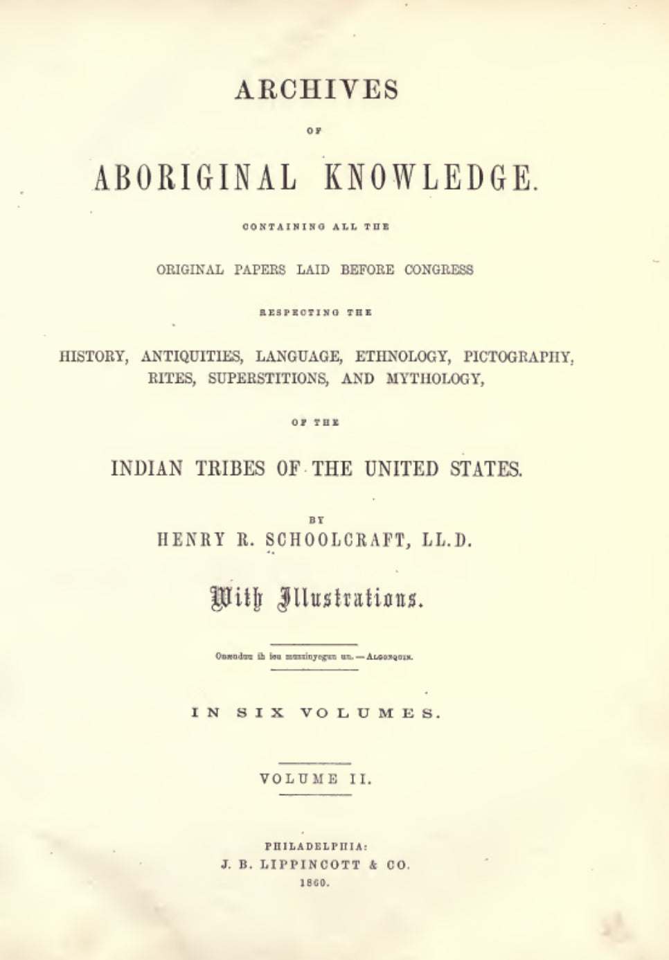 1860 Archives of aboriginal knowledge Vol 2