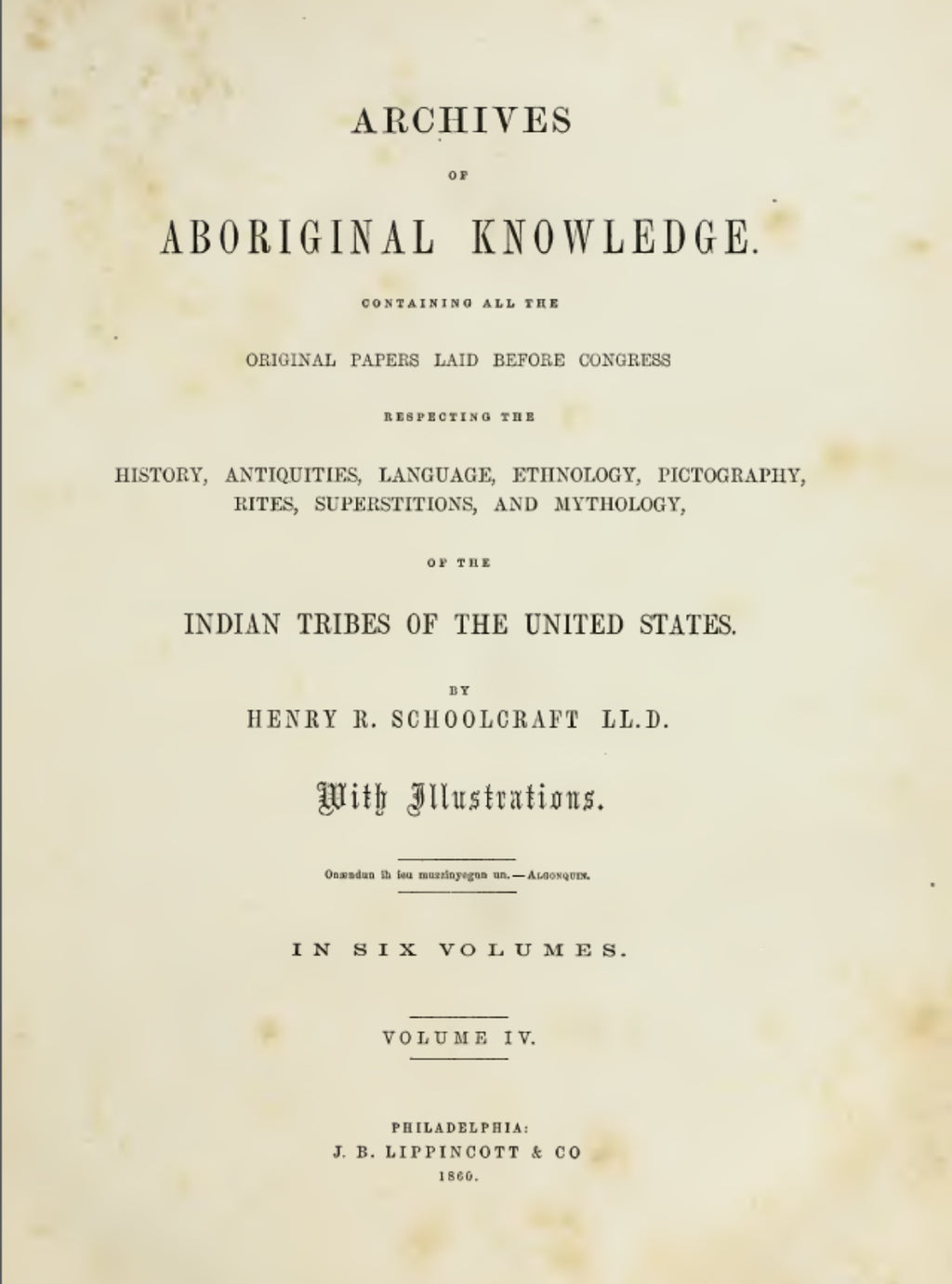 1860 Archives of aboriginal knowledge Vol 4