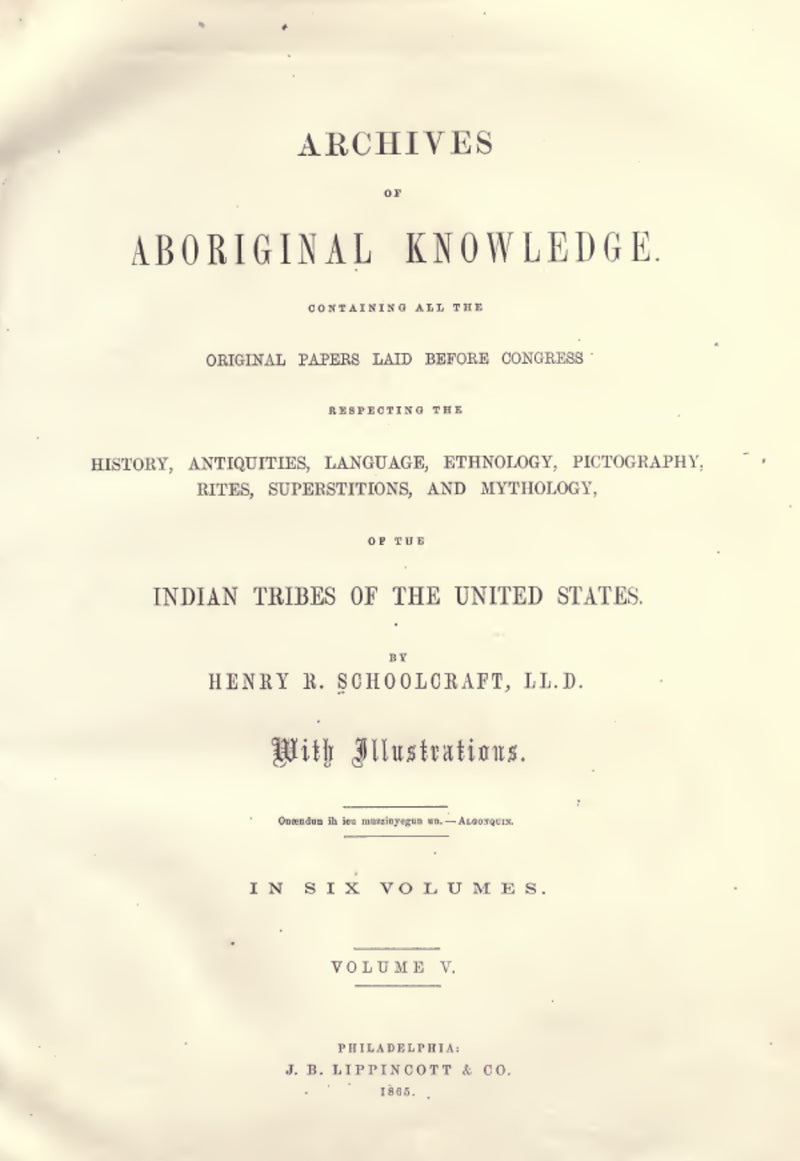 1860 Archives of aboriginal knowledge Vol 5