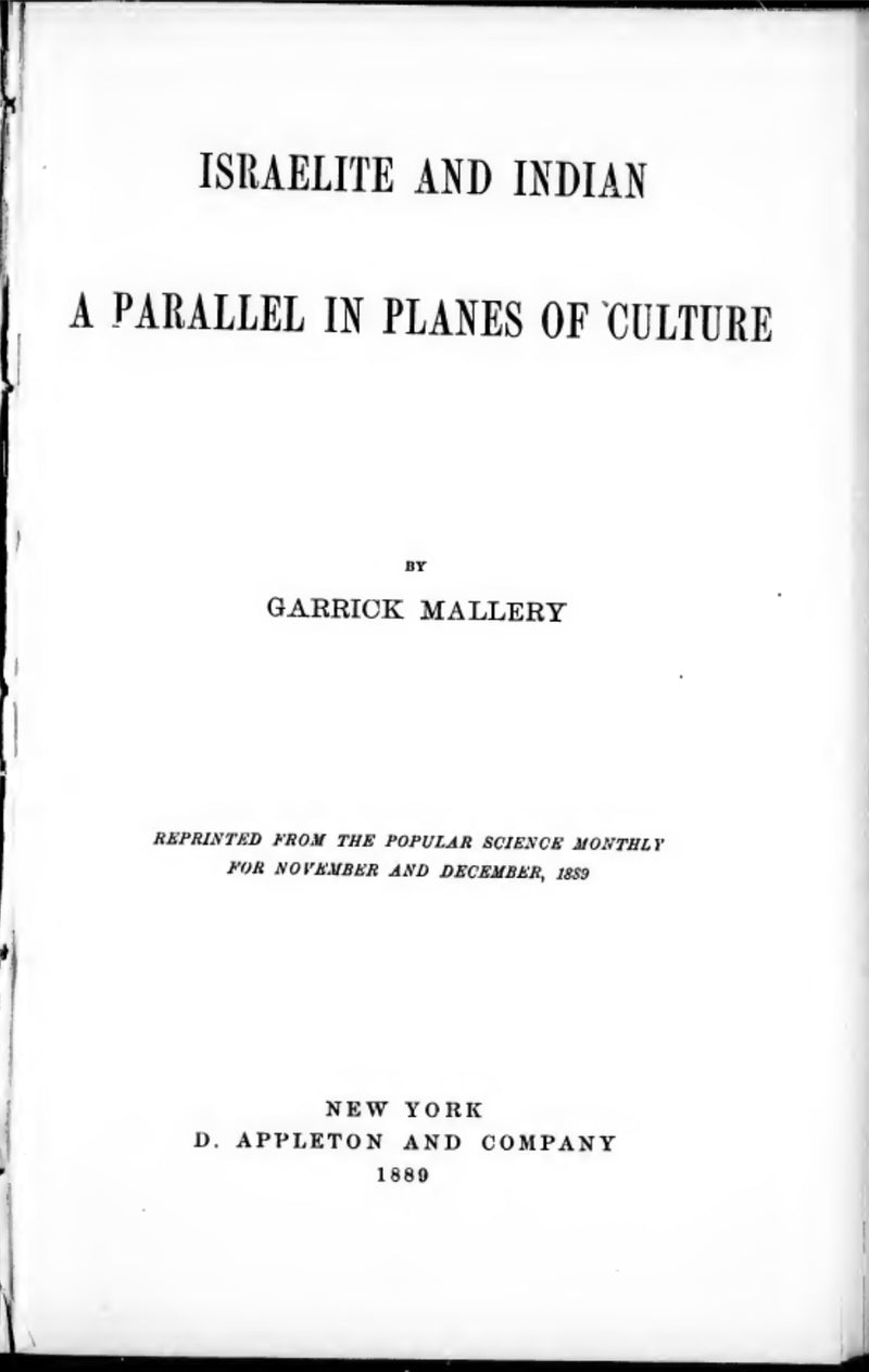 1889 Israelite and Indian: a parallel in planes of culture