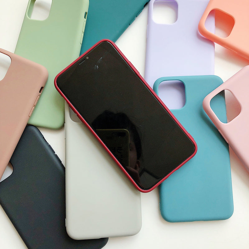LACK Solid Color Silicone Couples Cases For iphone XR X XS Max 6 6S 7 8 Plus 11 11Pro Max Cute Candy Color Soft Simple Fashion Phone Case NEW