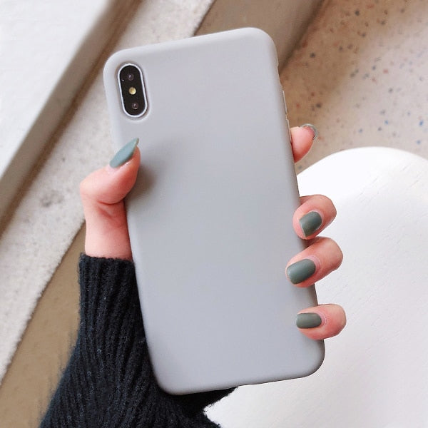 LACK Solid Color Silicone Couples Cases For iphone XR X XS Max 6 6S 7 8 Plus 11 11Pro Max Cute Candy Color Soft Simple Fashion Phone Case NEW 1