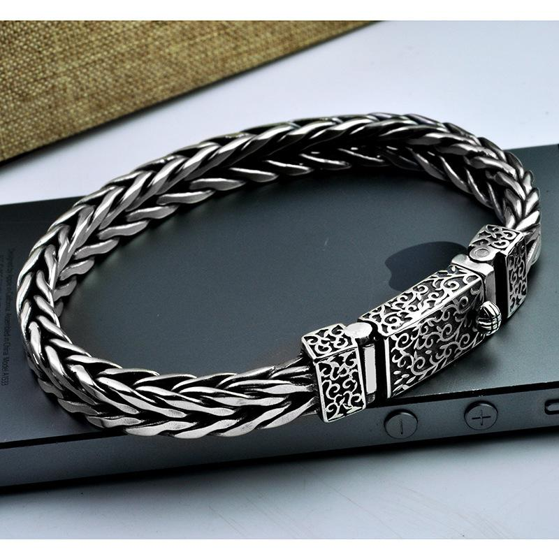 Silver Mens Bracelet Wide Handmade Woven Braided Real 925 Sterling Silver