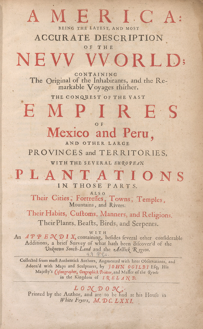 1670 America Being an Accurate Description of the New World