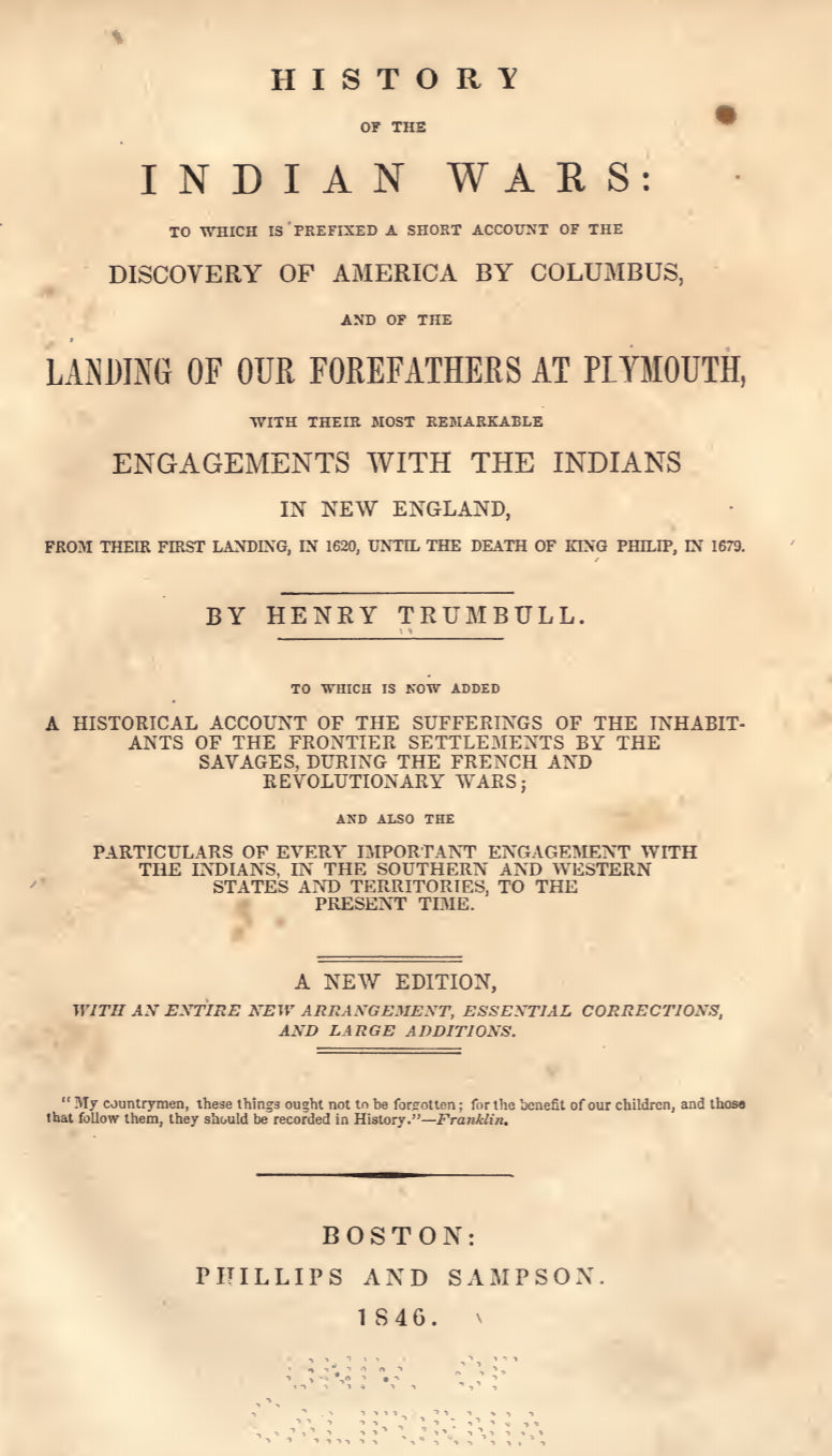 1846 History of the Indian wars, to which is prefixed a short account of the discovery of America by Columbus