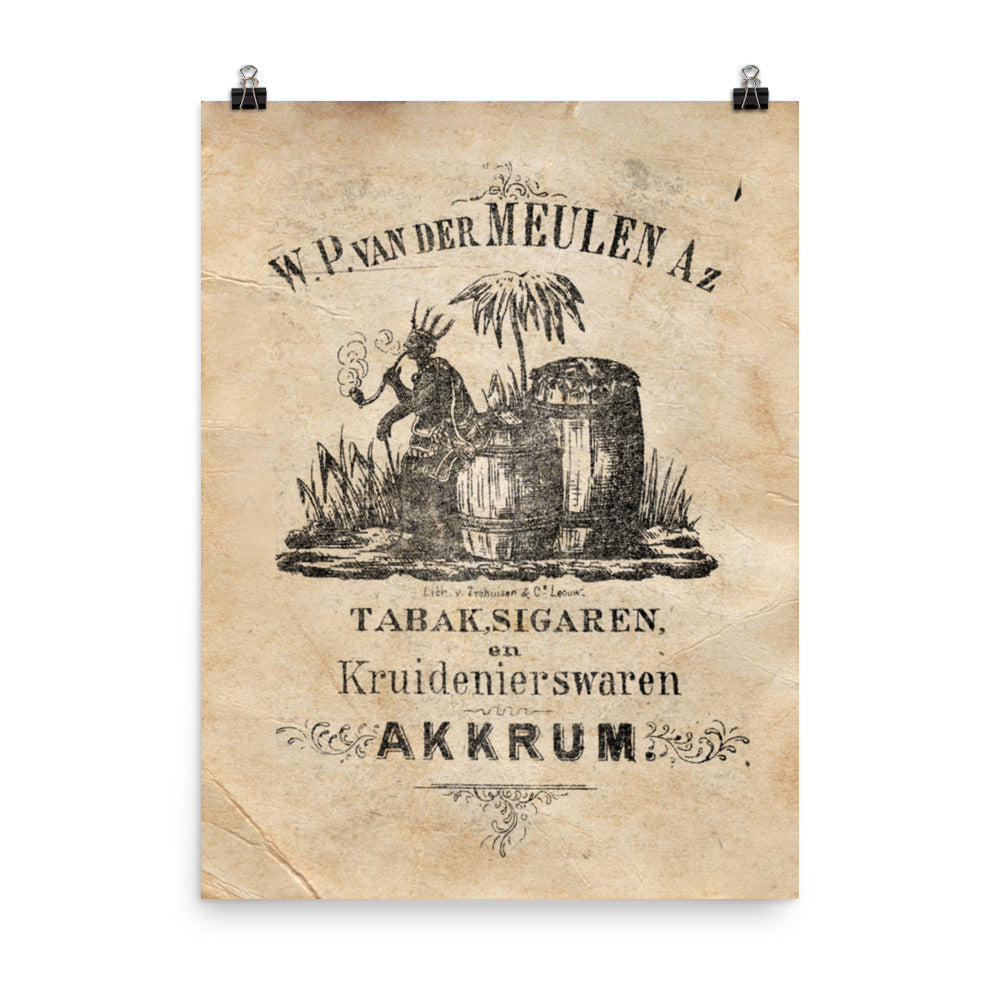 "1850 - 1900 ""Smoking Moor"" Photo paper poster"