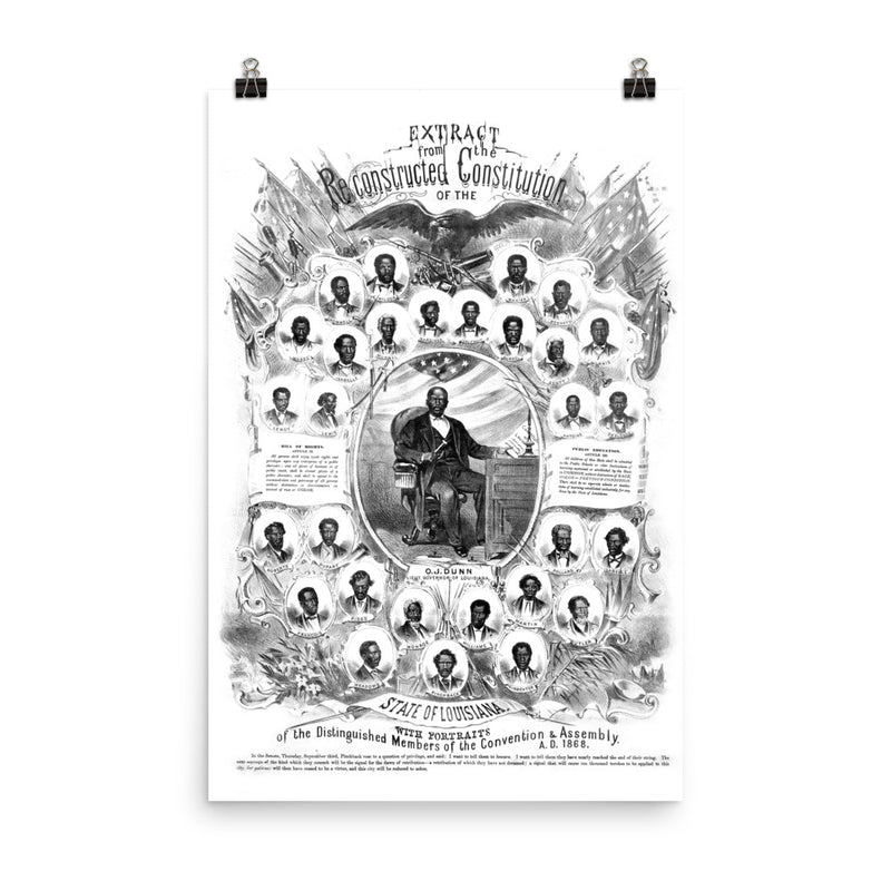 1868 Reconstructed Constitution of the state of Louisiana Matte Poster (Restored to its original look)