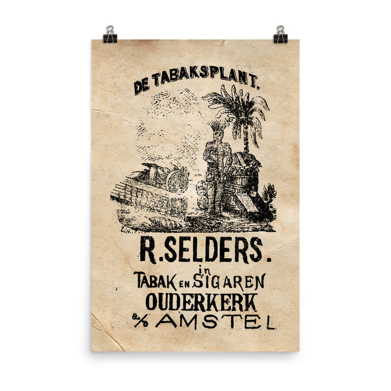 "1890 - 1900 ""Cigar Bag ""DE TABAKSPLANT."" Photo paper poster"