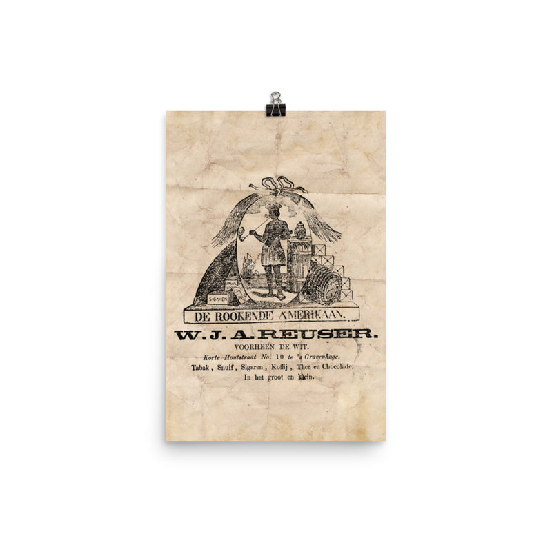 "1820 - 1900 ""DE ROOKENDE AMERIKAAN"" Photo paper poster"