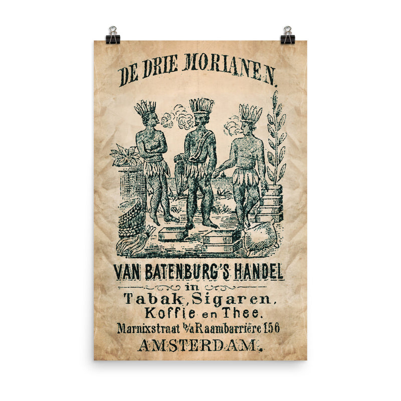 "1885 - 1900 ""THE THREE ROOKENDE MOOREN"" Cigar Bag Photo paper poster"