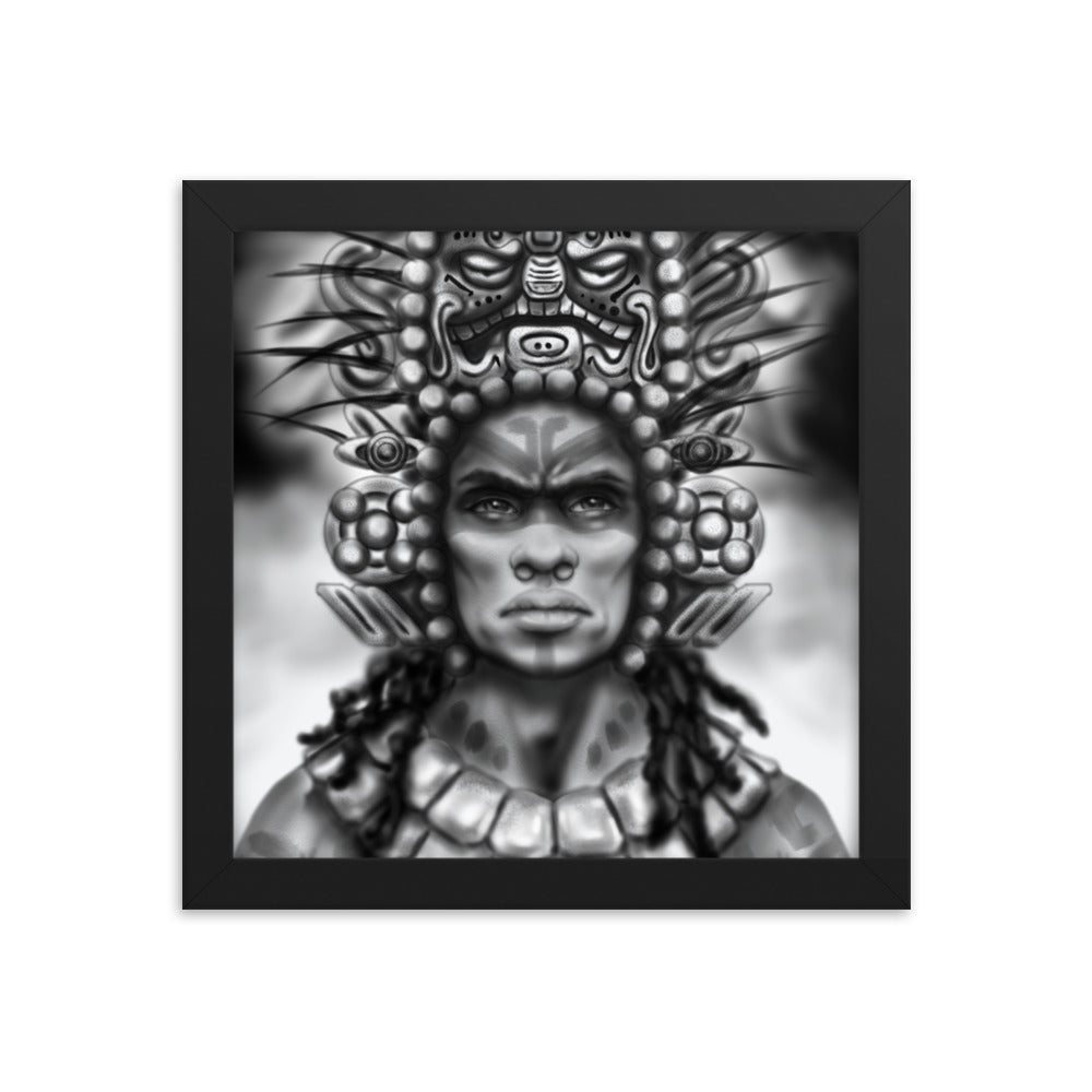 Aboriginal Moor Mayan Warrior Framed poster