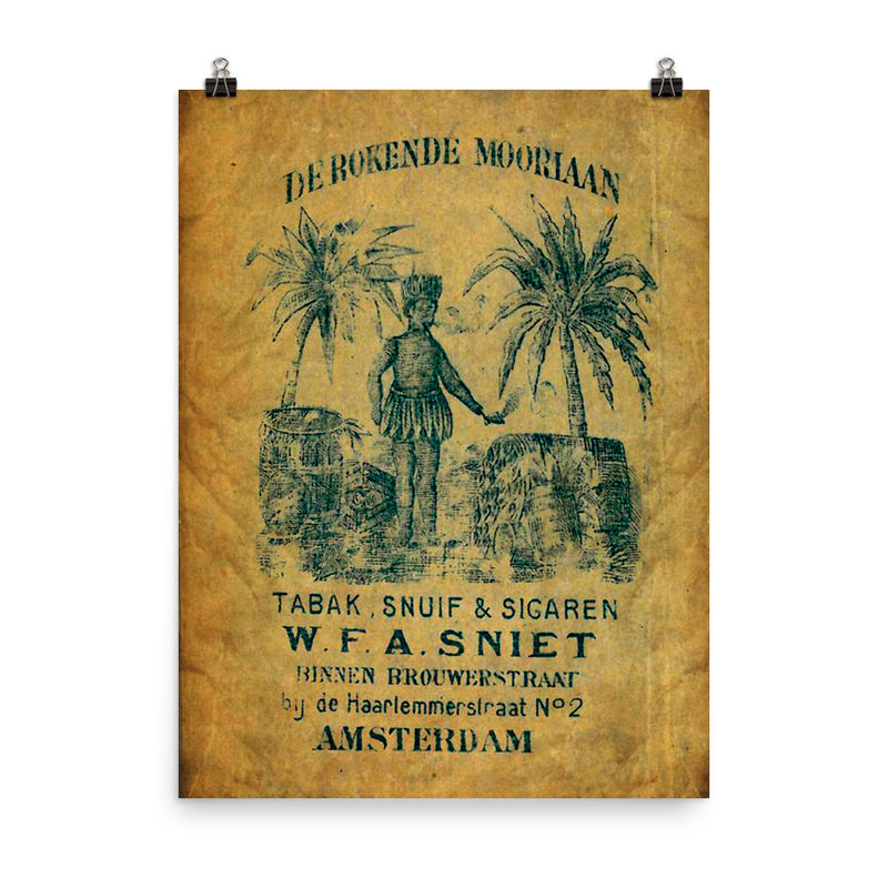 "1890 - 1910 ""DE ROOKENDE MOORIAAN"" Cigar Bag Photo paper poster"