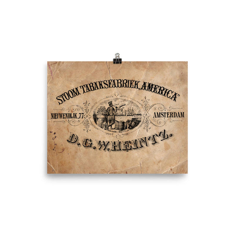 "1890 - 1910 ""STEAM TABAKS FABRIEK AMERICA "" Photo paper poster"