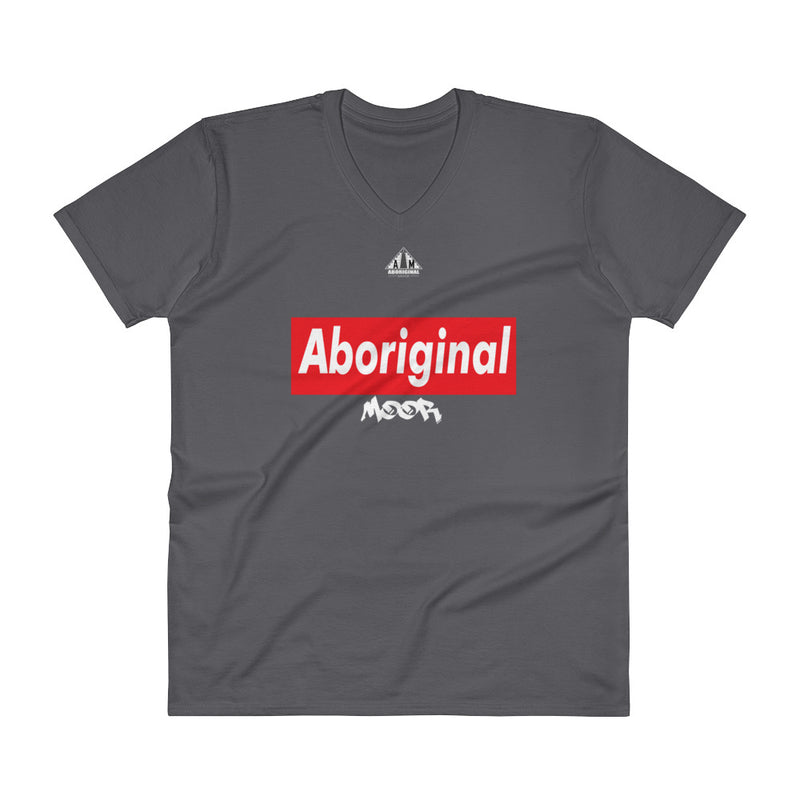 Aboriginal Moor Logo 4 (Dark Tee) V-Neck T-Shirt