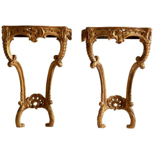 Hand Carved Rococo Style Giltwood Consoles