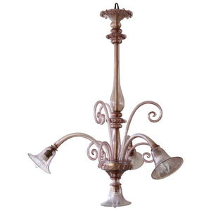 1940s Murano Chandelier, Hand Blown Amethyst Colored Glass