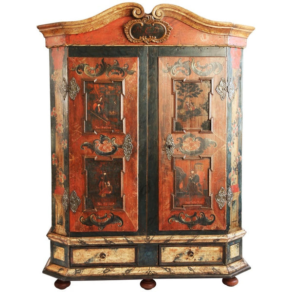 Louis XV Style Venetian Painted Bombe Chest Of Drawers