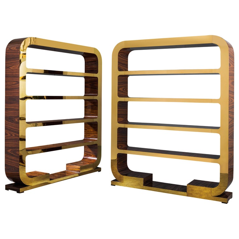 Pair of Vintage Italian 1960's Shelving Units in Polished Rosewood & Brass