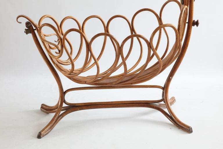 Rare French Bentwood Cradle in the Thonet S...