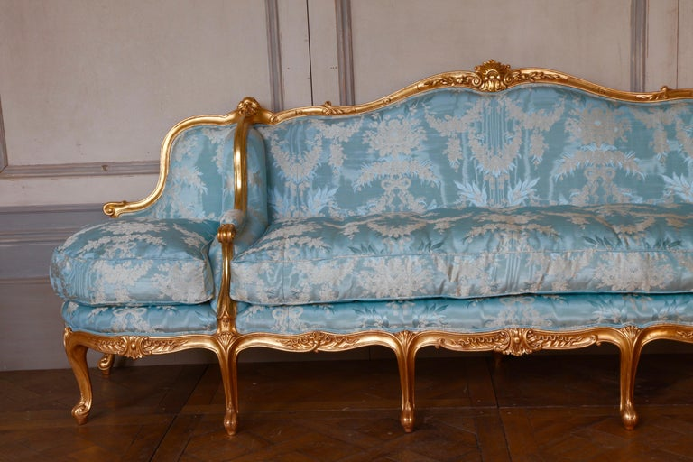 Giltwood Sofa Hand Carved in the Louis XV S...