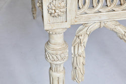 Louis XVI Style Console Table Hand Carved in Wood and Finished in French Grey