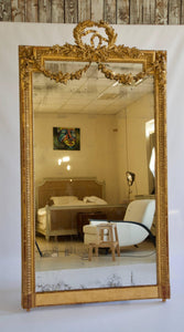 Large 19th Century Louis XVI Style Gold Mirror