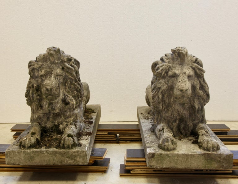 Pair of English Composite Stone Lions, circa 1930s