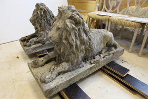Pair of English Composite Stone Lions