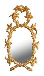 Pair of Hand Carved Oval Gilt Wood Mirrors