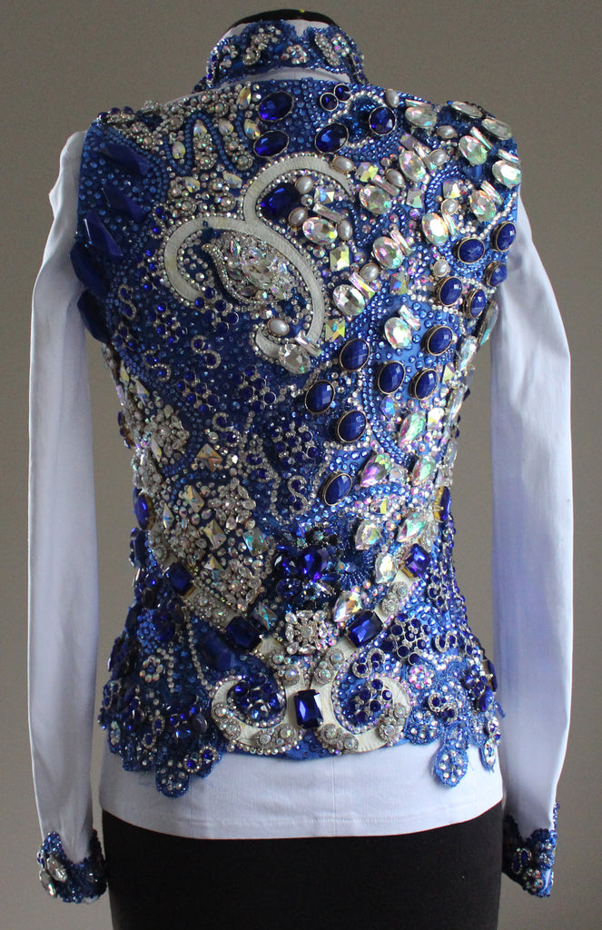 Size 2 Sapphire and Crystal AB Vest & White Zip-Front Shirt