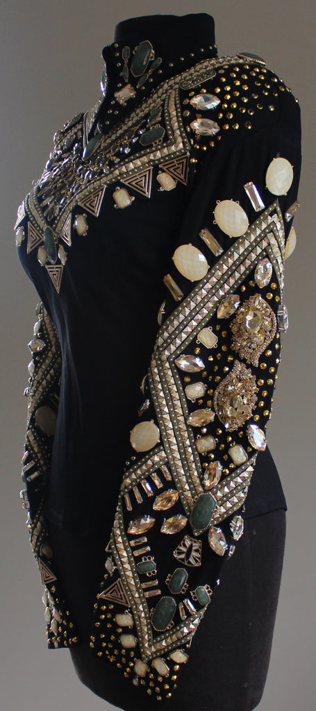 D Designs, Horsemanship, Horse show clothing, horse show fashion, horse show style, gold horsemanship, crystals, jewels, black, green, metal, Atlanta, Texas, Tammy Dyer Designs