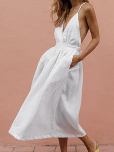 V Neck  Plain  Sleeveless Maxi Dresses