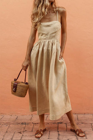 MODERNSWEETJOY Sexy Suspenders Cotton And Linen Wrapped Chest Skirt