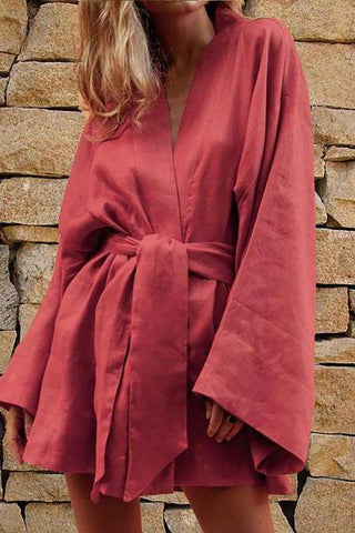 MODERNSWEETJOY V-Neck Kimono Sleeves Lazy Sexy Dress