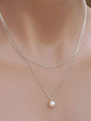 Two Pieces Faux Peral Necklace For Women
