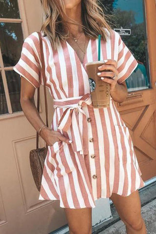 MODERNSWEETJOY Fashion Stripe Short Sleeve Casual Dresses