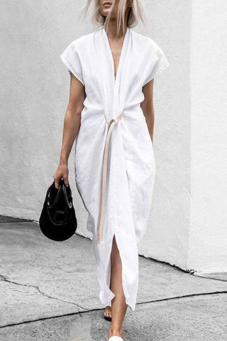 Chic V Collar Plain Belted Slit Maxi Dresses