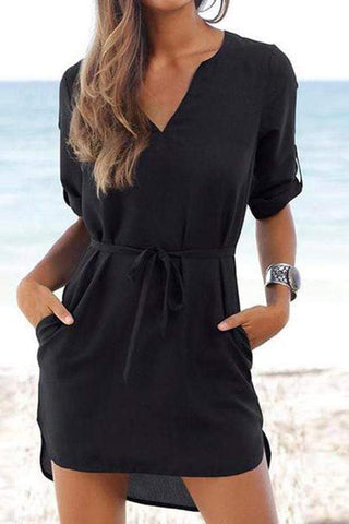 V Neck  Asymmetric Hem  Belt  Half Sleeve Casual Dresses