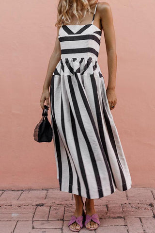 MODERNSWEETJOY Sling Stripe Printed Casual Street Dress