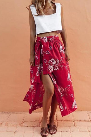 MODERNSWEETJOY Sleeveless Vest Slits Printed Skirt Set