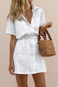 MODERNSWEETJOY H-Shaped Belt Elegant Shirt Dress