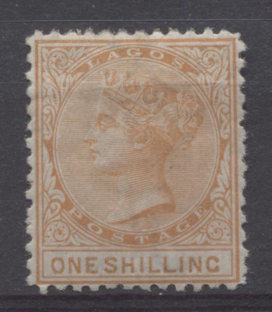 Distinguishing the Four Printings of the 1/- Orange Surface Printed Lagos Stamp Watermarked Crown CC and Perforated 12.5