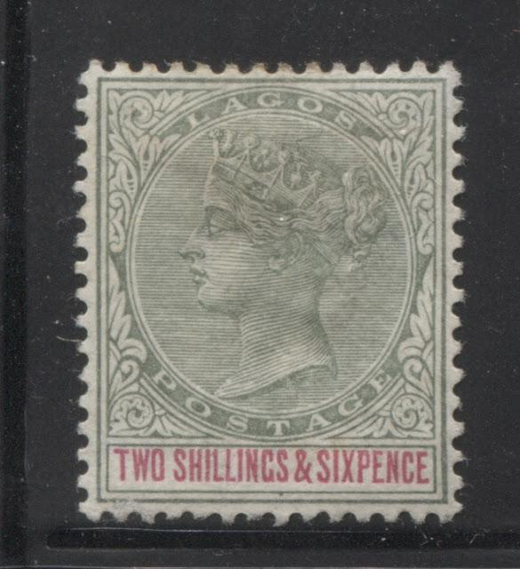 Printings of the 2/6d Green and Carmine Queen Victoria Keyplate Stamp of Lagos - 1887-1901 Part One