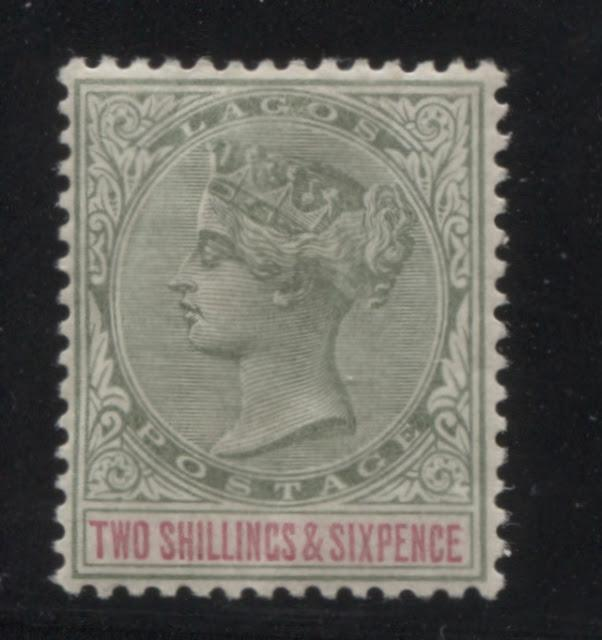 Printings of the 2/6d Green and Carmine Queen Victoria Keyplate Stamp of Lagos - 1887-1901 Part Two
