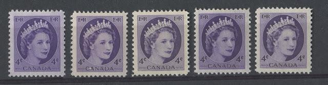 Shade Varieties Of The 4c Wilding Issue -1954-1963